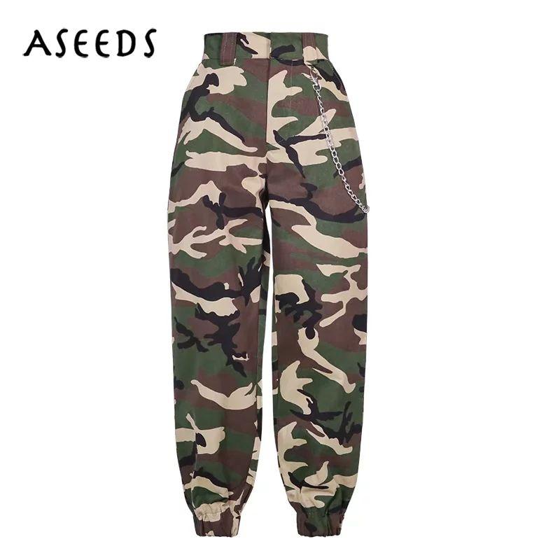 2018 Fashion Chain Military Camouflage pants women Army black high waist loose Camo Pants Trousers Street Jogger sweatpants
