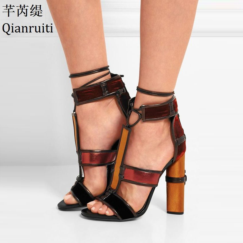 Qianruiti Cut-Outs Patchwork High Heels Rome Gladiator Sandals Open Toe Ankle Strap Women Pumps Lace-Up Block Heels Women Shoes