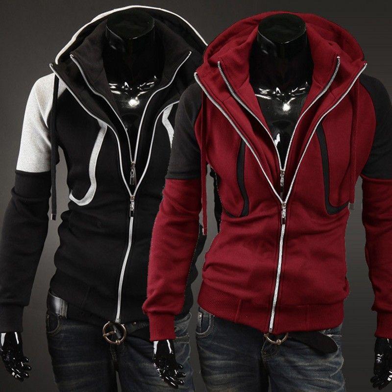 2017 New Casual Hoodies Hommes Style Européen Loisirs Polaire Automne Double Zipper Slim Manches Longues Sweat Survêtement, 1399