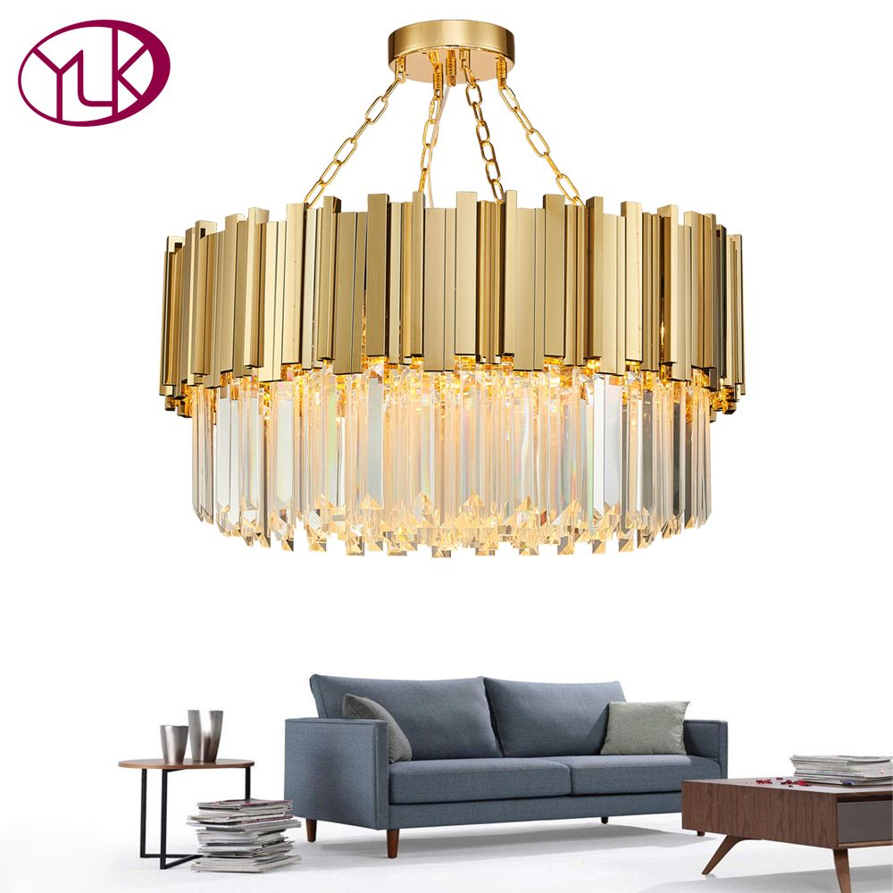 Youlaike Round Modern Chandelier Lighting Living Room Gold Crystal Lamp Luxury Stainless Steel LED Lustre New Flush Mount Light