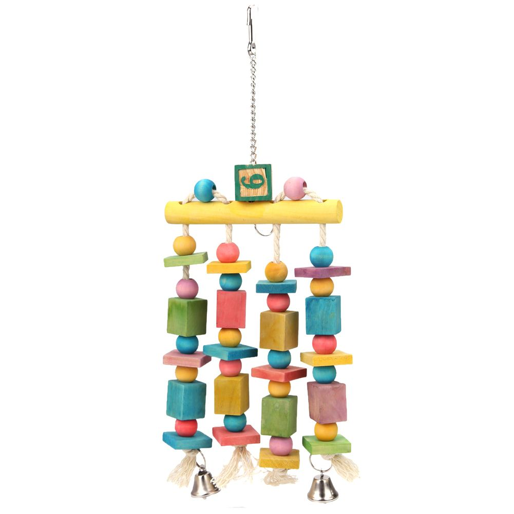 Colorful Wooden Parrot Bird Toys Parakeet Hanging Blocks Cage Toys for Parrot Parakeet Cockatiel Chewing Play Toy