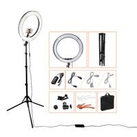 Кольцевая светодиодная лампа, 18 дюймов, 5500К, регулируемой яркости на 240 лампочек с подставкой-треножником для камеры – для съемок, фотографи...