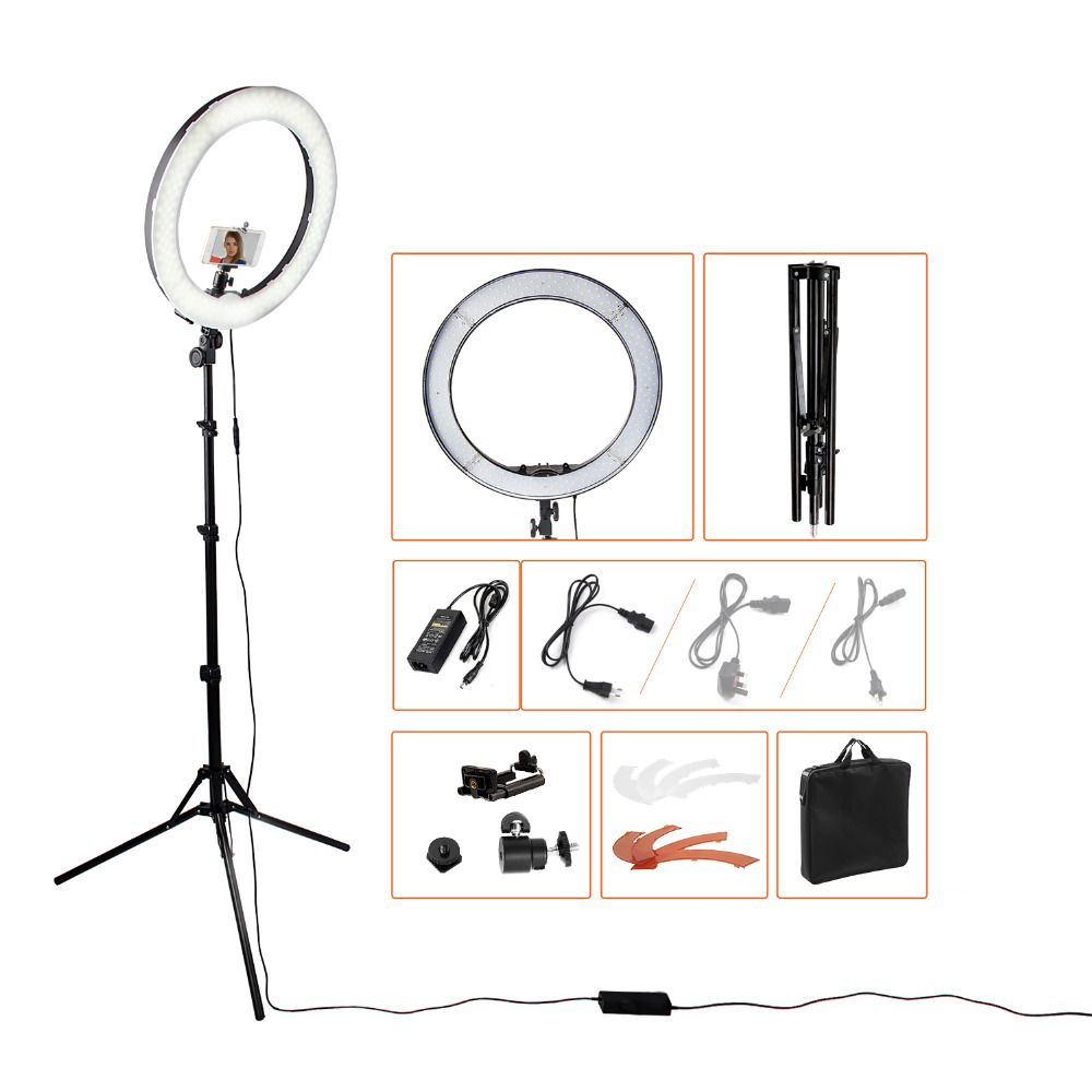 18240pcs LED 5500K Dimmable Photography Photo/Studio/Phone/<font><b>Video</b></font> LED Ring Light Lamp With Tripod Stand For Camera