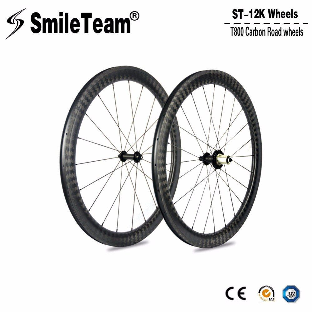 Top Super Carbon Road Wheels 12K Carbon Road Bike Wheelsets, U-Shape Clincher Bicycle wheels 700c 25mm width Bike Carbon Wheels