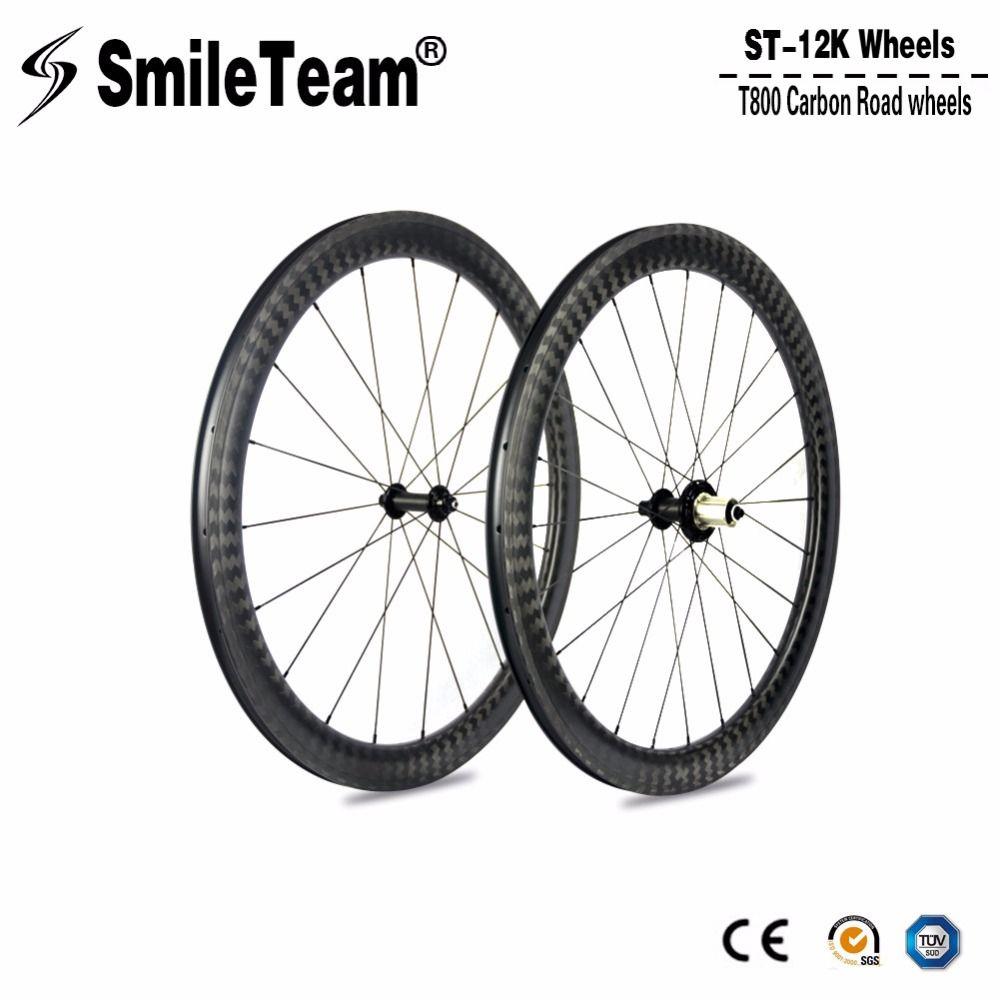 Top Super Carbon Road Wheels 12K Carbon Road Bike Wheelsets, U-Shape Clincher Bicycle wheels 700c 25mm width Bike Carbon Wheels