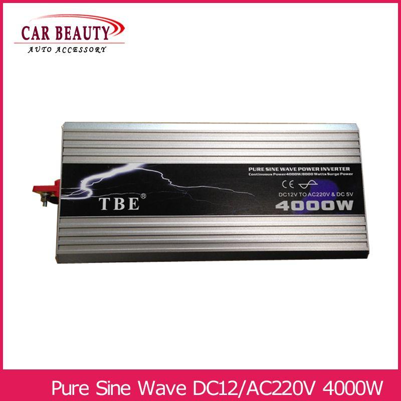 Power Inverter 4000W Pure Sine Wave Inverter DC 12V to AC 220V Car Converter Solar Power Inverter Peak Power 8000W