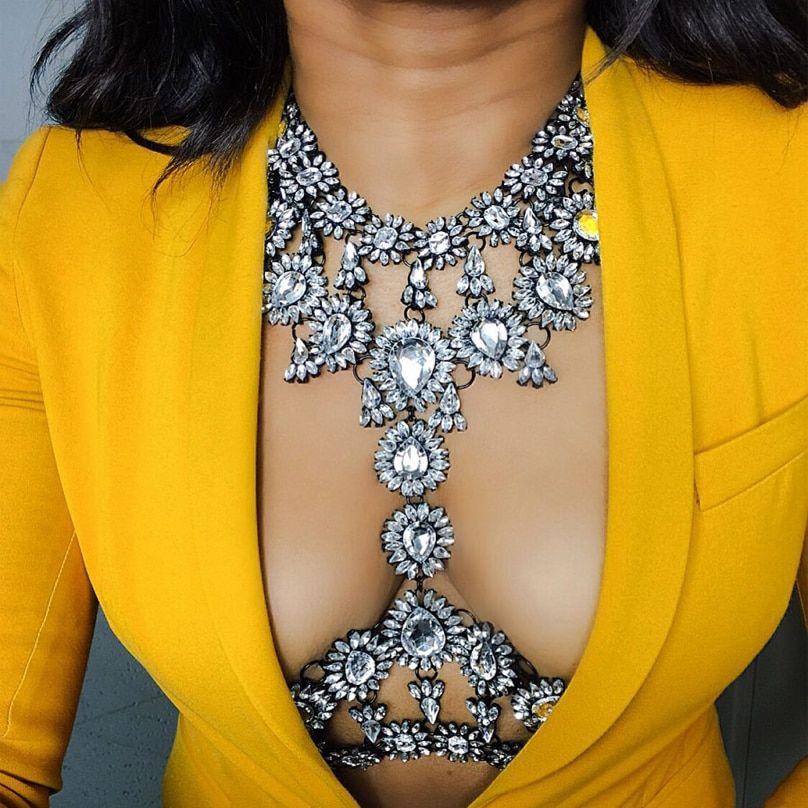 Best lady New Summer Long Body Necklace Chain Sexy Handmade AB Crystal Gem Chunky Maxi Luxury Gem Statement Necklace <font><b>Femme</b></font> 3415