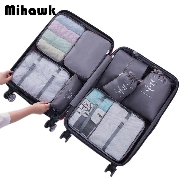 Mihawk 8Pcs Travel Bags Sets Waterproof Packing <font><b>Cube</b></font> Portable Clothing Sorting Organizer Luggage Accessories Supplies Products