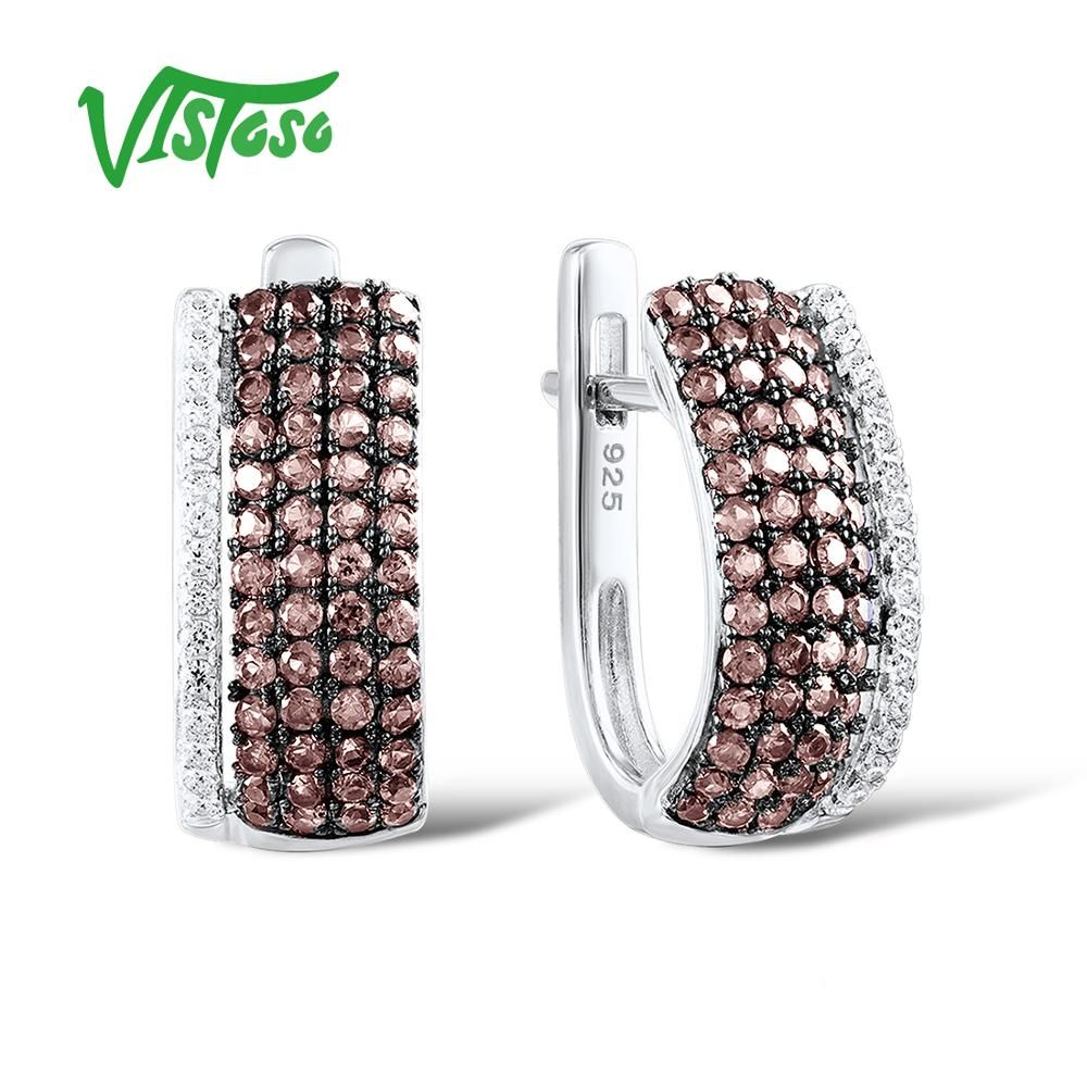 VISTOSO 925 Sterling Silver Stud Earrings Jewelry Earrings For Women Round Chocolate Round White Cubic Zircon 925 Sterling Party