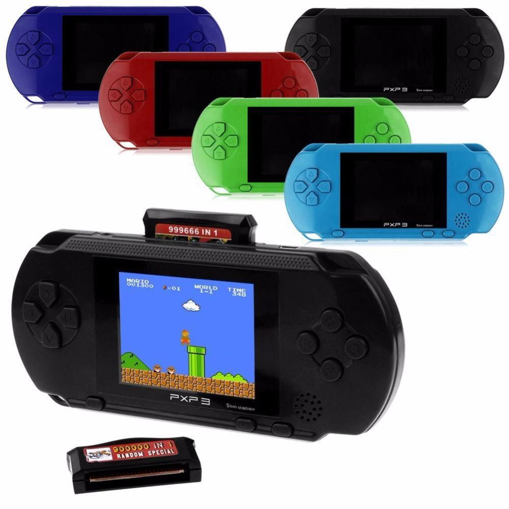 16 Bit PXP3 Handheld Game Players Handheld Game Player Pocket Video Game Console with AV Cable Support TV-out + Game Card