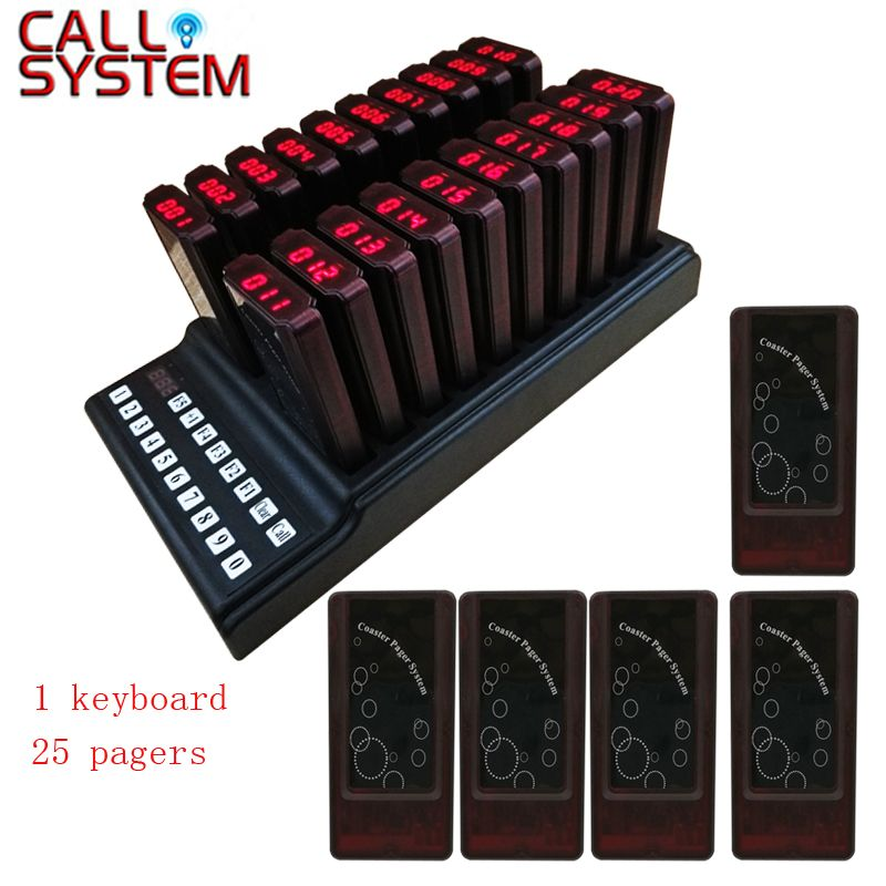 Ycall 25 Pagers and 1 Transmitter Keyboard Wireless Restaurant Call System Guest Pager Button System