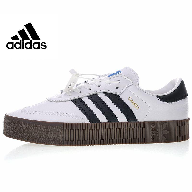 Adidas Originals Samba Rose Men and Women Skateboarding Shoes, White/black,High Quality Lightweight Wear Resistant AQ1134 AQ1156