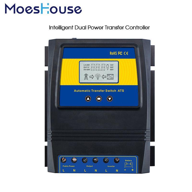 Automatic ATS Dual Power Transfer Switch Solar Charge <font><b>Controller</b></font> for Solar wind System DC 12V 24V 48V AC 110V 220V on/off grid