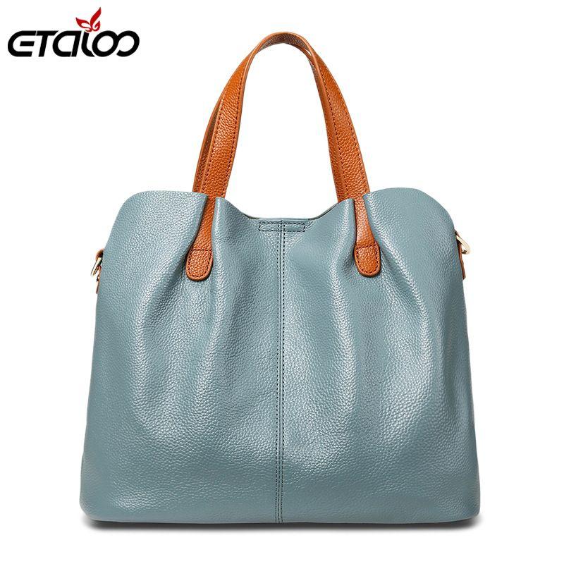 Genuine Leather Women Handbag High Quality Fashion Ladies Shoulder Bag Solid Color Top-handle Bag