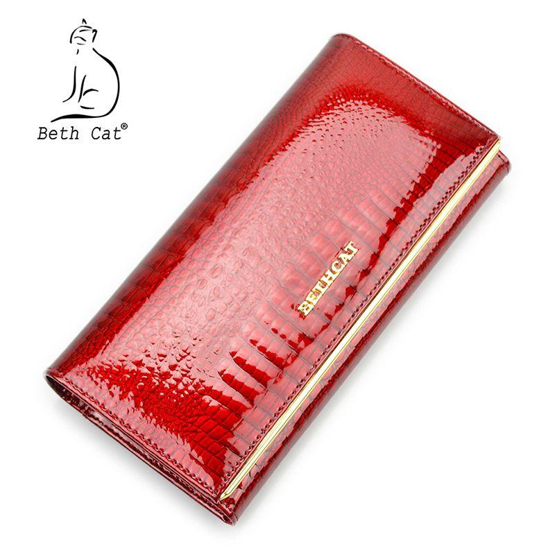 Beth Cat femmes en cuir véritable portefeuille femelle moraillon Alligator peau de vache longue porte-cartes portefeuille pochette mode dames sacs à main
