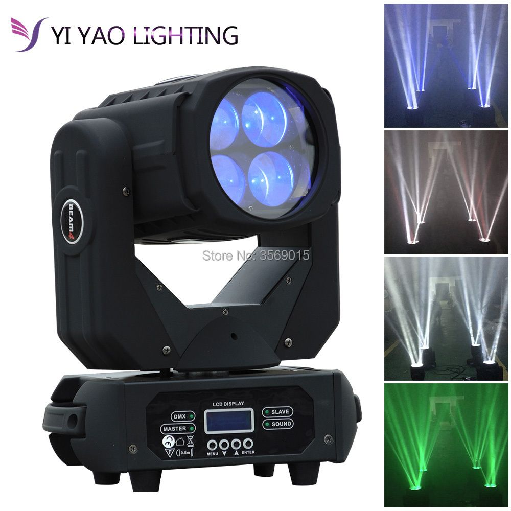 4x25W LED 130W Super Beam Moving Head Lights Spot Zoom DMX 9/15CH for Disco Stage Wedding Party Decorations