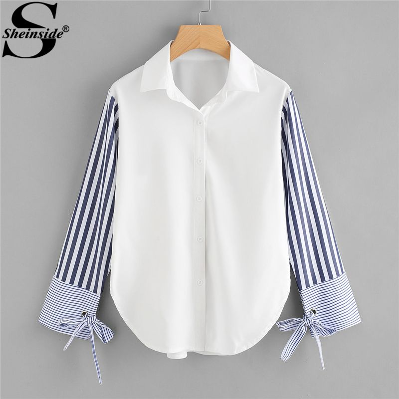 Sheinside Colorblock Striped Sleeve Tie Detailed Top Button Turn Down Collar Long Sleeve Shirt 2018 Spring Women OL Work Blouse