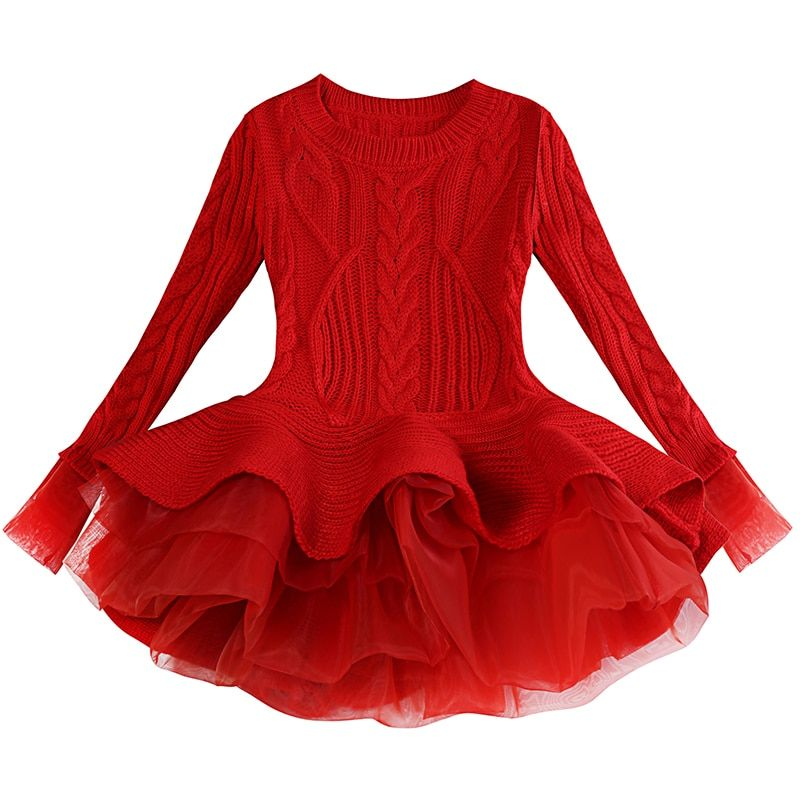 2018 Thick Warm Girl Dress Christmas Wedding Party Dresses Knitted Chiffon Winter Kids Girls Clothes Children Clothes Girl Dress