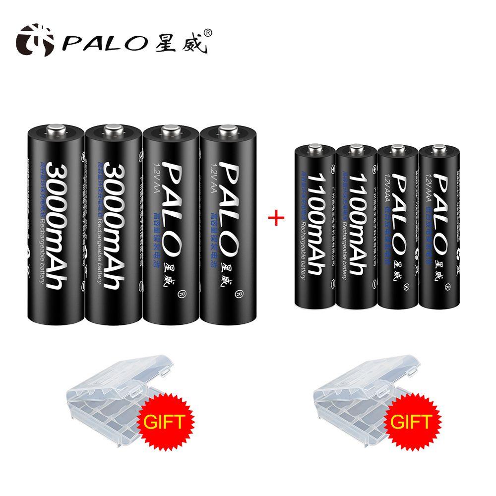 PALO batterie rechargeable 4 pièces 1.2 V 3000 mAh Piles AA + 4 pièces 1100 mAh AAA Batterie NI-MH AA/ AAA Rechargeable Batteries aa bateria