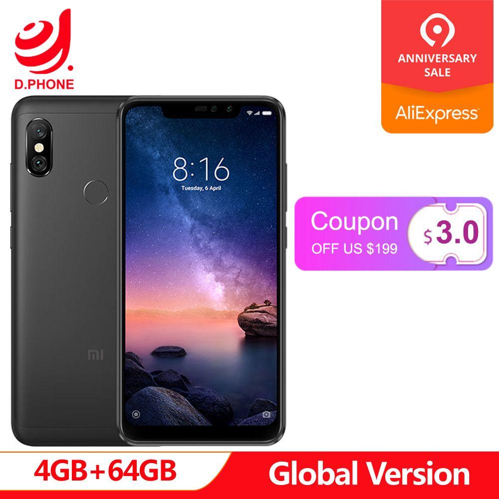 Version globale Xiaomi Redmi Note 6 Pro 4 GB RAM 64 GB ROM Snapdragon 636 Octa Core 6.26 cran écran complet 4000 mAh Smartphone