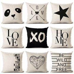 Олень дом любовь звезда панда хлопок и лен с принтом Наволочка декоративная офисная домашняя Подушка Almofada Cojines Coussin