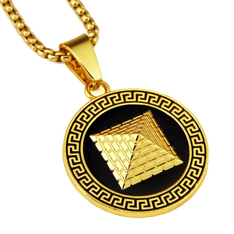 NYUKI Fashion Gold Silver Color Egyptian Pyramid <font><b>Pendant</b></font> With Black Side Hip Hop Jewelry Packing With Gift Box For Men/Women