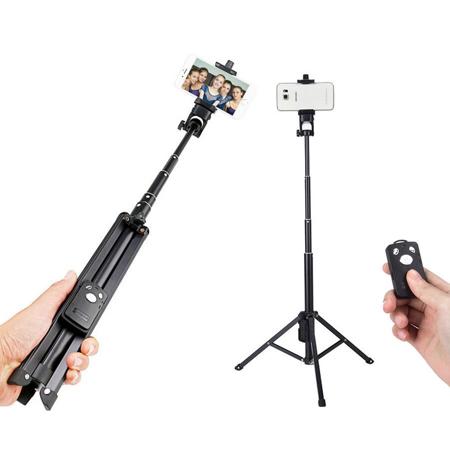 New Arrival Aluminum Alloy 31.5-134cm Portable Bluetooth Selfie Stick With Tripod Extendable Monopod With Bluetooth <font><b>Shutter</b></font>