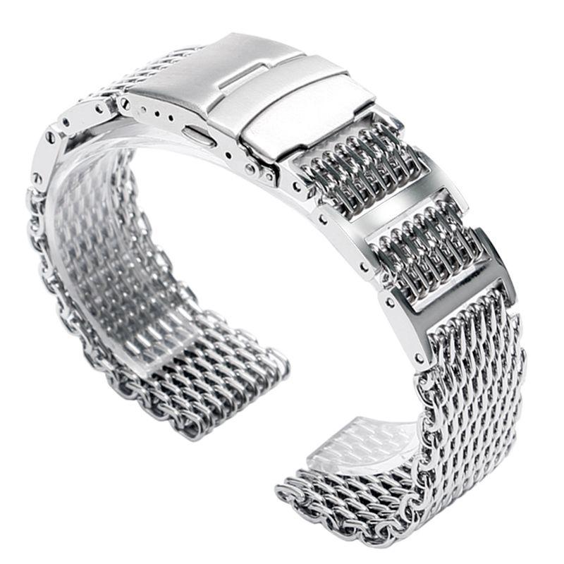 20mm 22mm 24mm de luxe en acier inoxydable en acier inoxydable requin maille bracelet de montre hommes femmes remplacement bracelets de montre bracelet pli sur fermoir