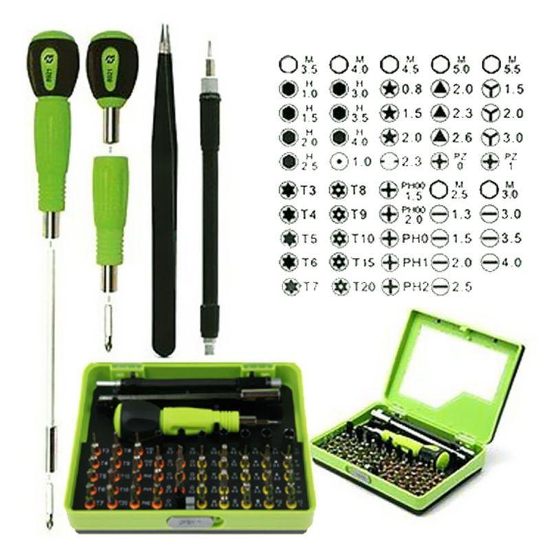 Jeu de tournevis de précision 53 en 1 pince à épiler Flexible arbre de forage démontage tournevis Torx réparation Kit d'outils ouvert pour téléphone intelligent