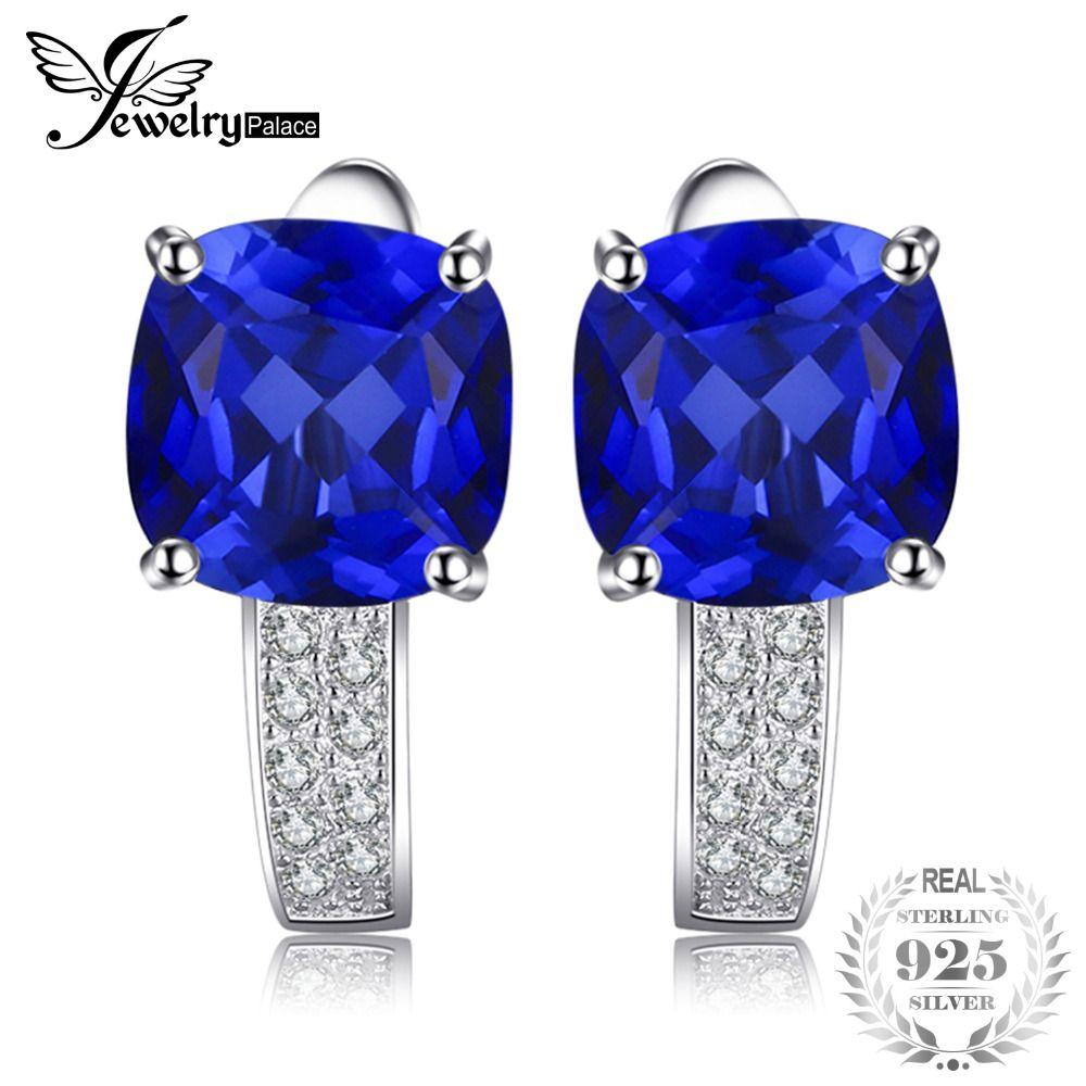 JewelryPalace Coussin 4.6ct Créé Bleu Saphir Clip Boucles D'oreilles 925 Bijoux En Argent Sterling Pour Les Femmes 2018 Nouvelles Boucles D'oreille De Mode