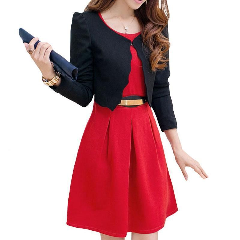 2018 Spring New Fashion Women Dress Suits Business Uniforms Sleeveness with Long-Sleeve Jackets Two Pieces High Quality