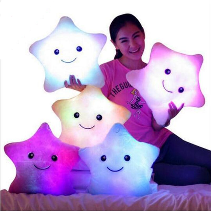 Christmas Toys pillow,  Valentines Gift Led Light Pillow,plush Pillow, Hot Colorful Stars,kids Toys, Birthday Gift YYT214-YYT218