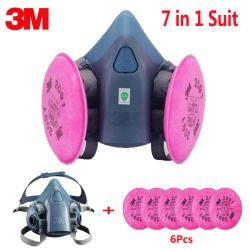 7 In 1 Suit SPray Paint Dust Mask respirator For 3M 7502 2091 P100 Industry Dust Respirator Fliters