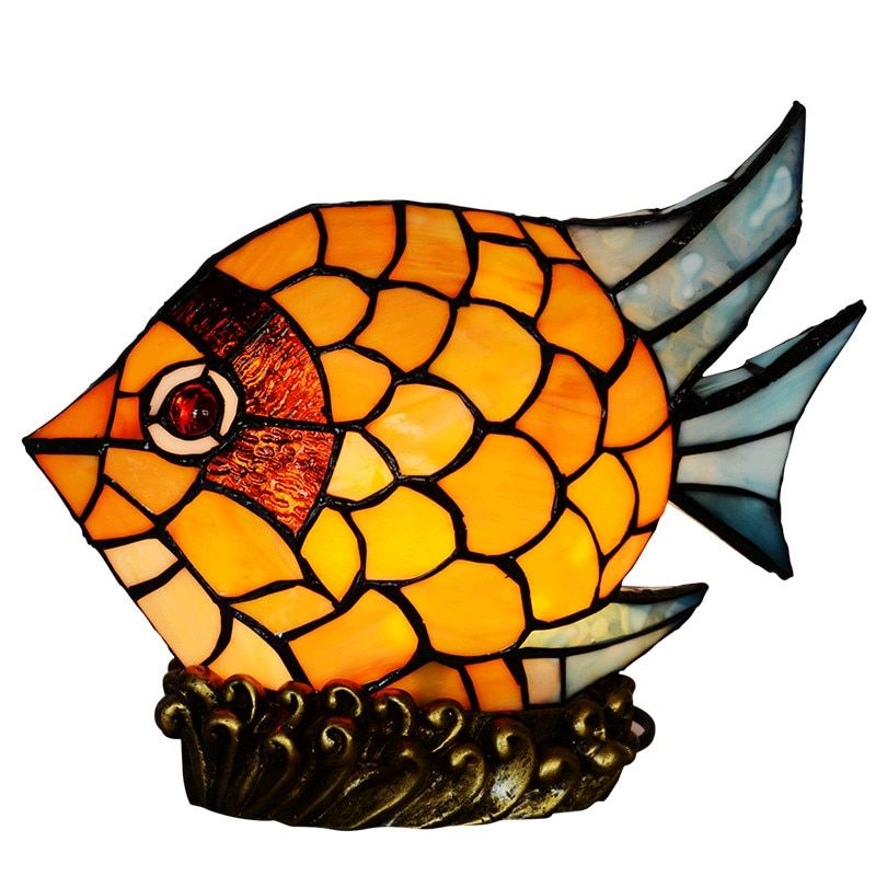 Novelty Creative Baby Projector Stained Glass little Fish Kids Child Bedside Desk LED Night Table Lamp Light Decoration Lighting