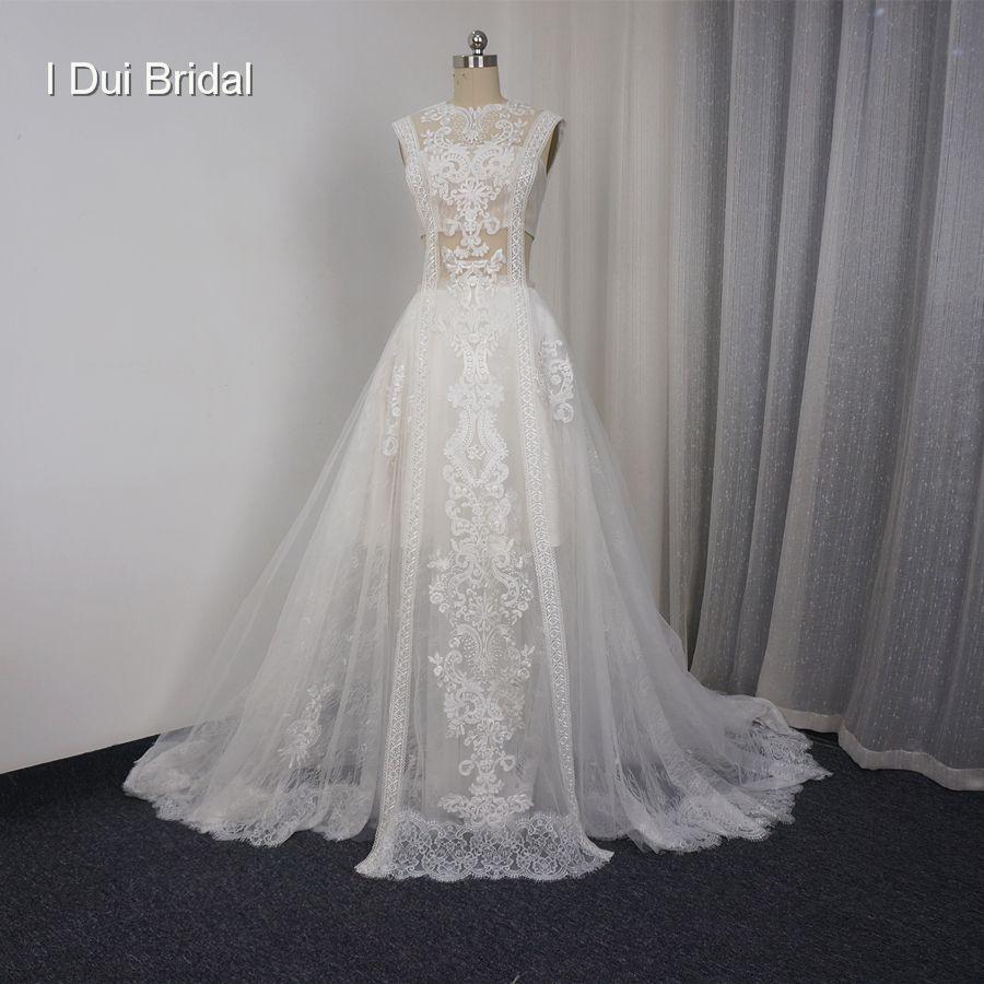 Sleeveless Eine linie Spitze Illusion Brautkleider Sexy Neue Stil Real Photo Fabrik Nach Maß Brautkleid