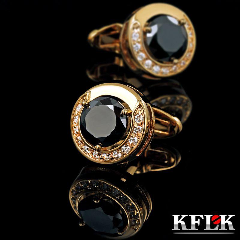 KFLK luxe 2019 nouveau chaud chemise boutons de manchette pour hommes marque boutons de manchette or bouton de manchette de haute qualité noir abotoadura bijoux