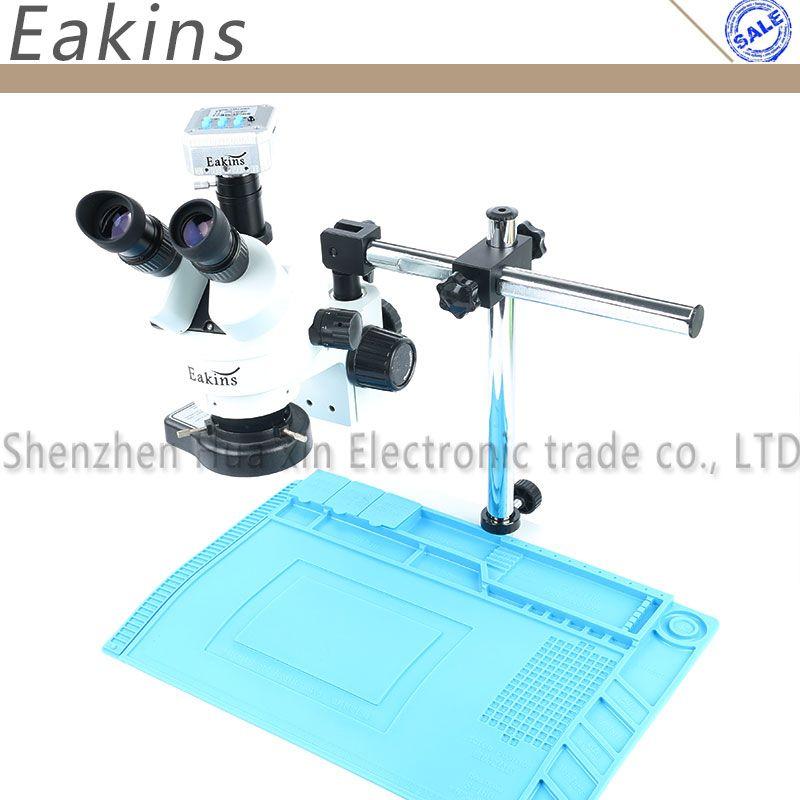 Simul brenn 3.5X-90X Trinocular Stereo Zoom Mikroskop 16MP Mikroskop Kamera Big Boom Stand + Reparatur Isolierung Pad