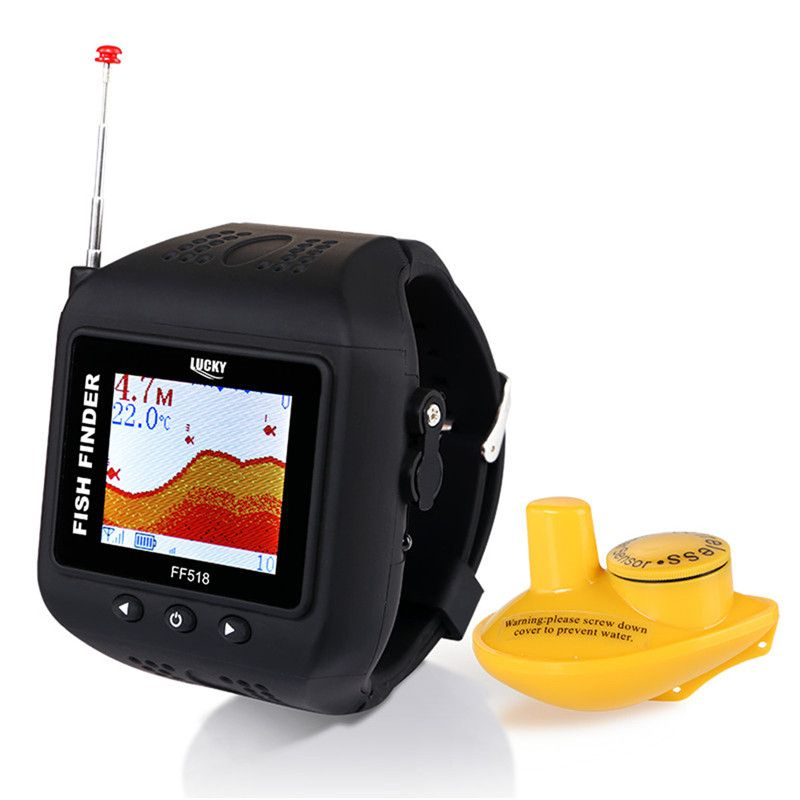 LUCKY FF518 Sonar Fish Finder Wireless Fishfinder 180 Feet(60M) Range Portable Echo Fishing Sounder Watch On Hand
