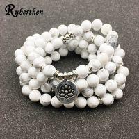 Ruberthen Designed Women`s Bracelet Trendy 108 Mala Howlite Lotus Bracelet or Necklace High Quality Yogi Jewelry Gift for Girls