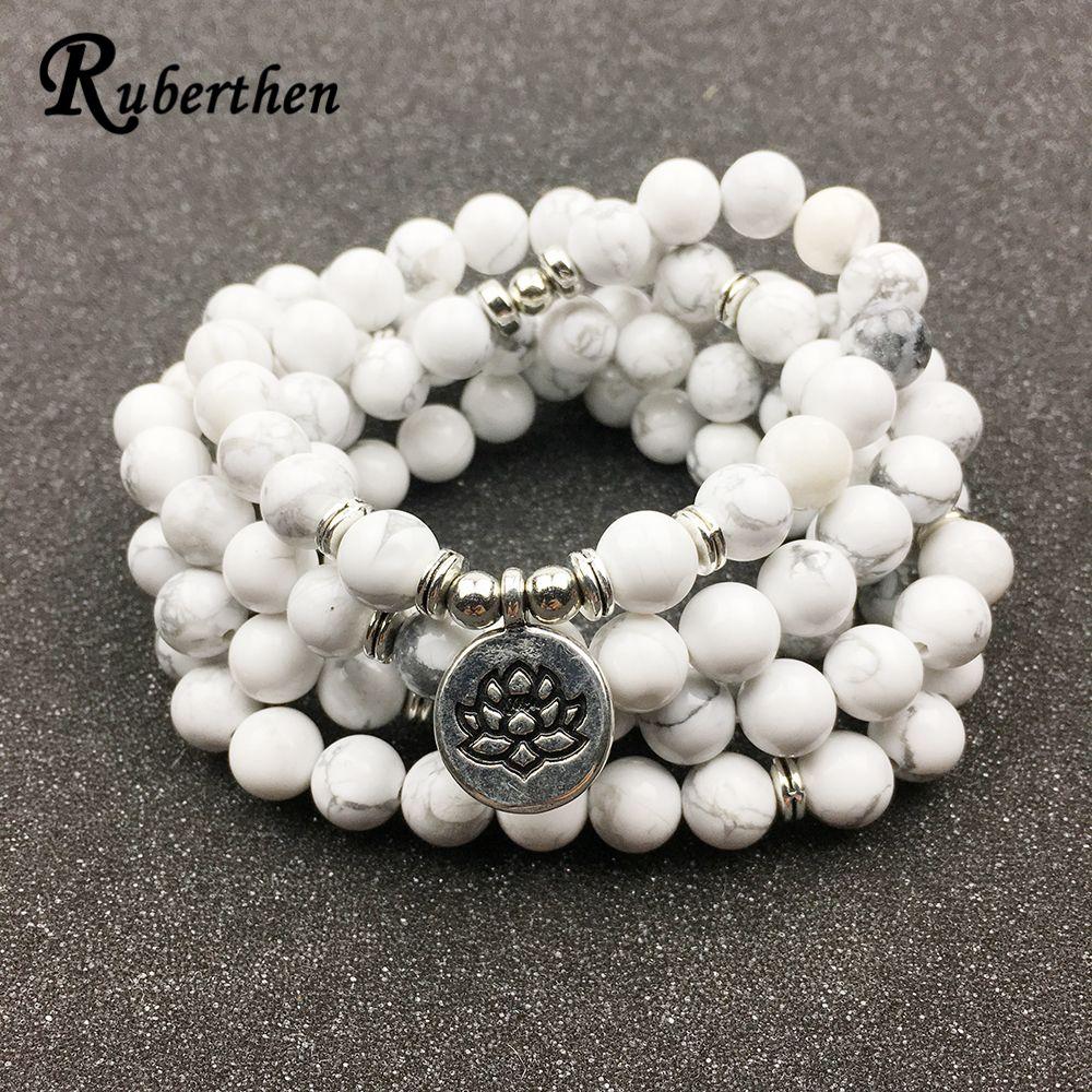 Ruberthen <font><b>Designed</b></font> Women`s Bracelet Trendy 108 Mala Howlite Lotus Bracelet or Necklace High Quality Yogi Jewelry Gift for Girls