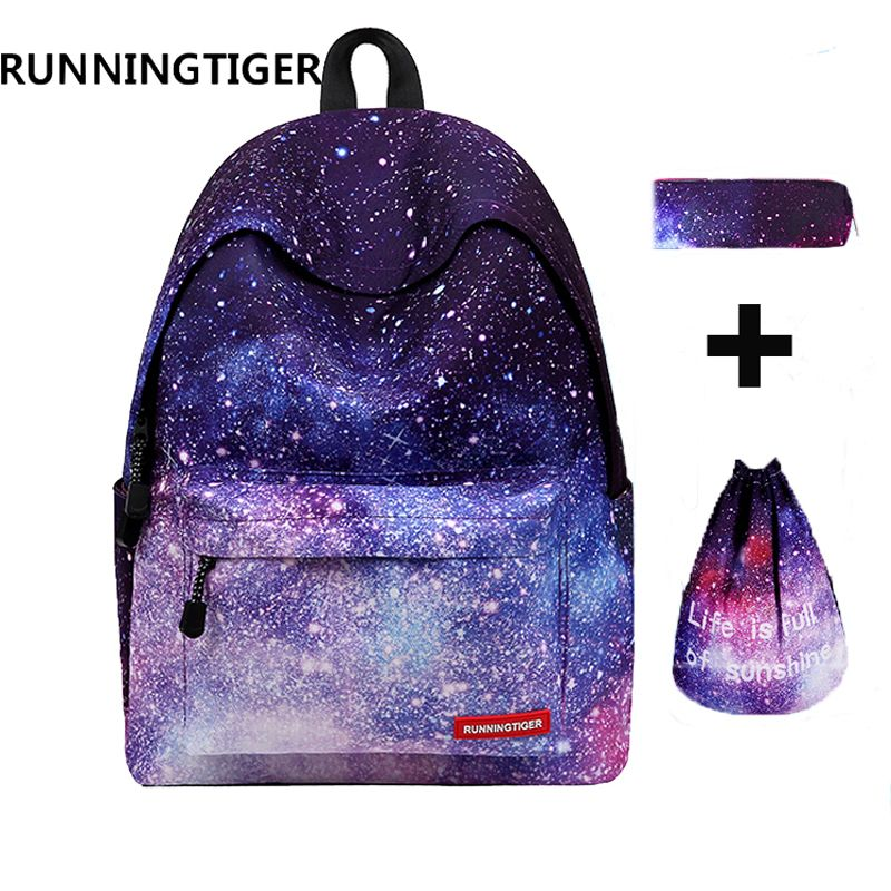 RUNNINGTIGER 3pcs Sets <font><b>Girls</b></font> School Bags Women Printing Backpack School Bags For Teenage <font><b>Girls</b></font> Shoulder Drawstring Bags