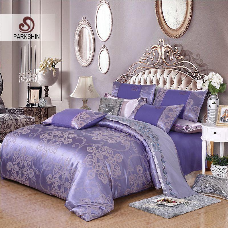 ParkShin Tibutle Silk Bedding Set Luxury Tencel Silk Duvet Cover Set Light Purple Bed Linen 4pcs Bedclothes Jacquard Queen King