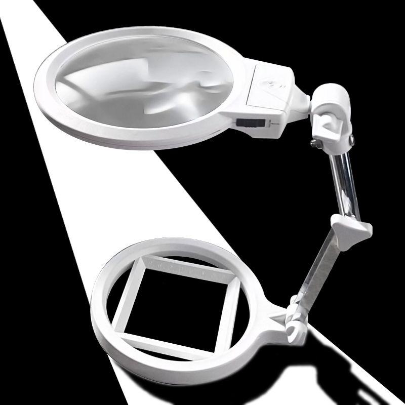 130mm Grande Taille Lentille Pliable 2x 6x Loupe LED Lumineux Réglable Table Loupe avec Échelle et LED Lumière