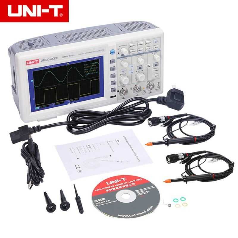 UNI-T UTD2052CEX Digital Storage Oscilloscopes 2CH 50MHZ 1Gsa Scope meter 7 inches widescreen LCD displays USB OTG Interface