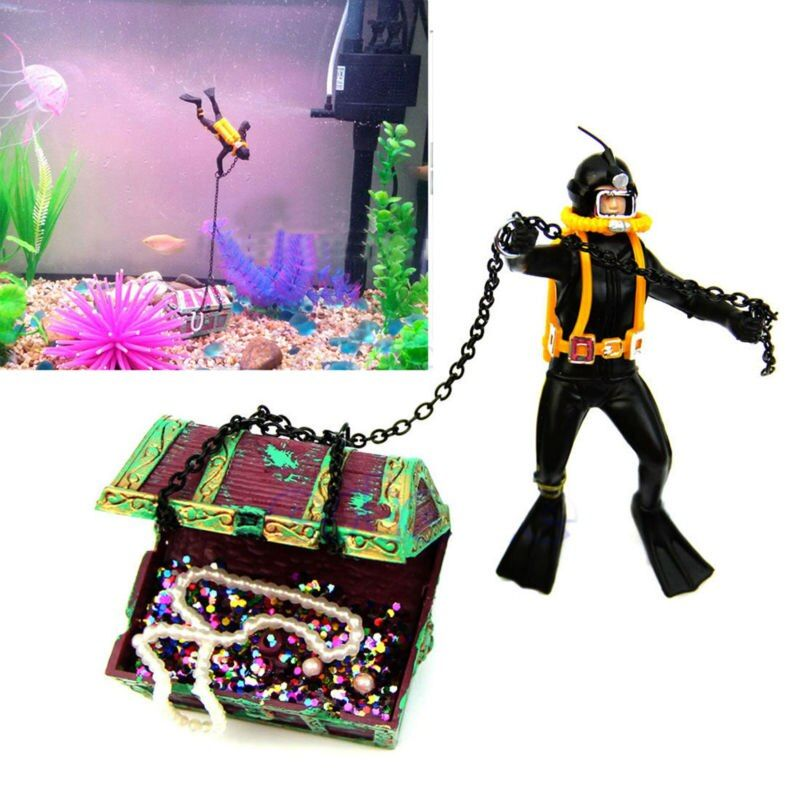 Date Aquarium Ornement Trésor Plongeur Hunter Trésor Figure D'action Poissons Plongeur Réservoir Ornement Aquarium Paysage