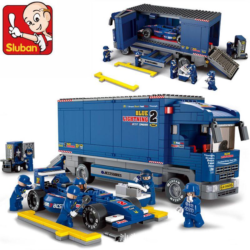 Sluban 0357 Конструкторы 641 шт. грузовик F1 гоночный автомобиль модели рисунок строительный Конструкторы рисунок классический кирпичи развивающ...