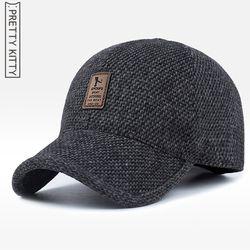 Довольно Китти 2017 теплая зима весна утолщенной Бейсбол Кепки с ушками Для мужчин хлопок snapback шляпу Шапки ушами для для мужчин hat