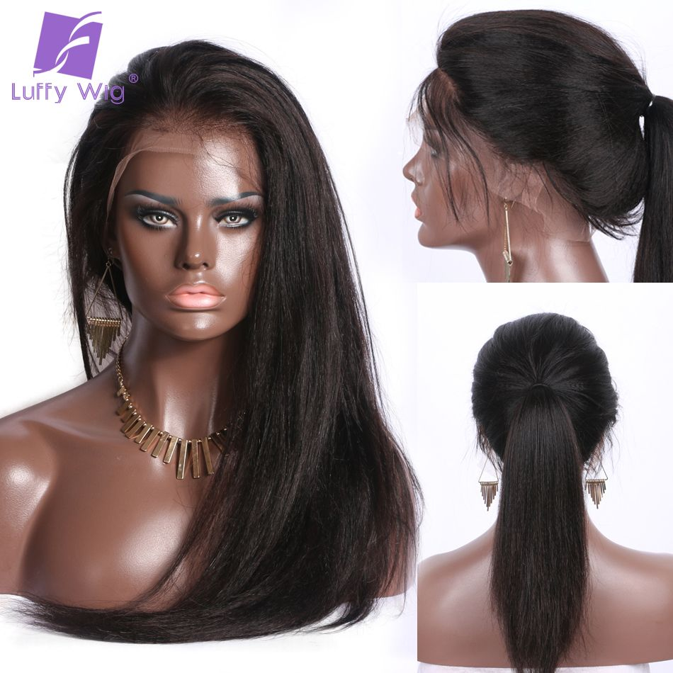 Luffy 13x6 Deep Frontal Brazilian Lace Front Human Wigs With Baby Hair Pre Plucked Glueless Yaki Straight For Women Non Remy