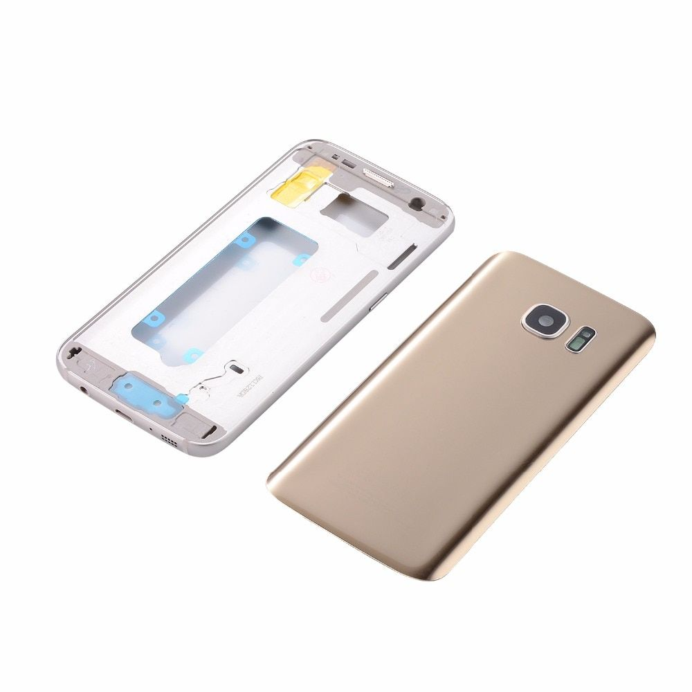 Original Metal Middle Frame+Housing Glass Battery Back Cover For Samsung Galaxy S7 G930 S7 Edge G935(Single card all versions)