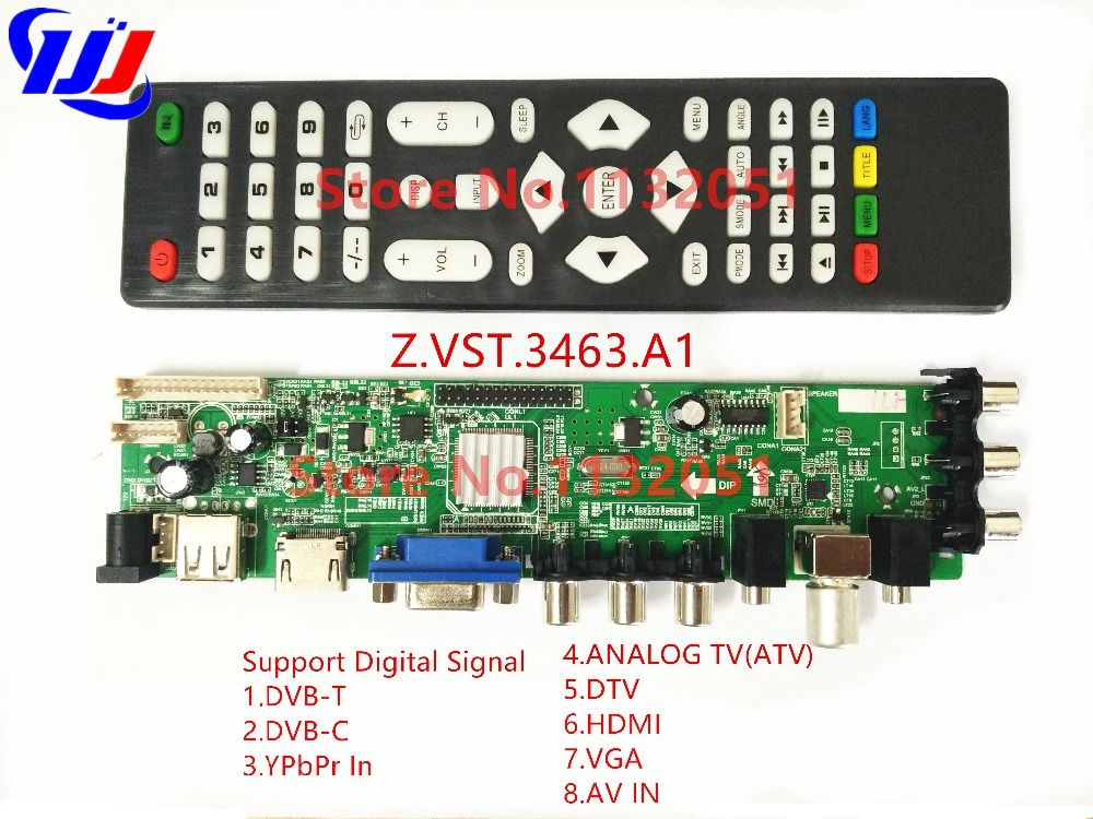 DS.D3663LUA.A81.2.PA V56 V59 Universal LCD Driver Board Support DVB-T2 Universal TV Board 3663